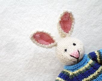 Hand Knitted Toy - Stuffed Animal - Hand Knit Rabbit - Hand Knit Soft Toy - Waldorf Toy - Free Shipping - Knit Stuffed Animal - ADAM