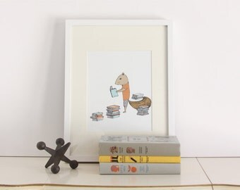 Reading Squirrel Print - Reading Print, Library Print, Kids Art, Children's Art, Childrens Decor, Illustrated Art, 8 x 10 Illustrated Print