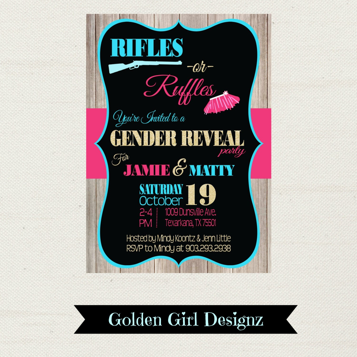 Rustic Rifles or Ruffles Gender Reveal Party Invitation Baby