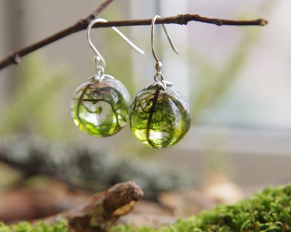 Real moss globe earrings - unique woodland fall find - 925 sterling silver hooks