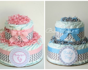 Pink And Grey Baby Shower . Blue And Grey Safari Diaper Cake . Baby Shower  Diaper