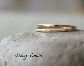Skinny Stacked Rings ONE Solid 14k Gold Band Yellow Gold Rose Gold White Gold Minimal Wedding Anniversary