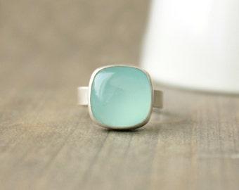 Aqua Blue Sterling Silver Ring Chalcedony Cushion Cut Gemstone Ring Made in your size--""
