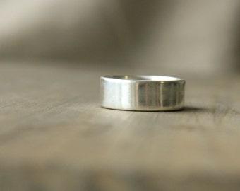 Men's Wedding Band Wide Silver Wedding Ring Argentium Sterling Silver 7mm wide