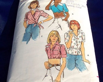 Vintage 1970' s Butterick Pattern 3540 Misses Size 8 Top Crop, Wrap, tie or elastic waist