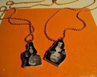 Elvira and Vampira Pumpkin Necklaces