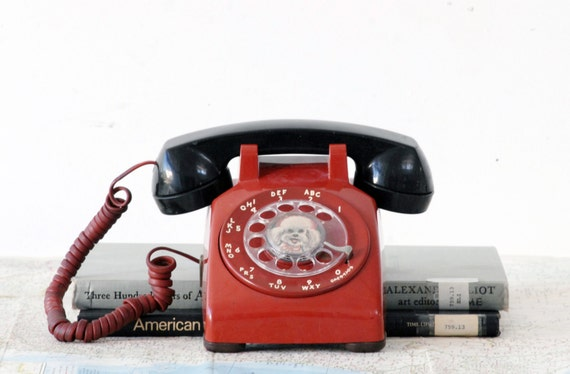 Red And Black Rotary Telephone With Dog Dial Tested And