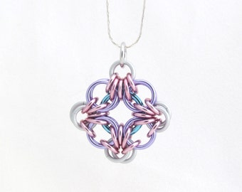 Chain Maille Pendant, Jump Ring Jewelry, Pastel Pendant, Multicolor Jewelry, Diamond Shaped Pendant