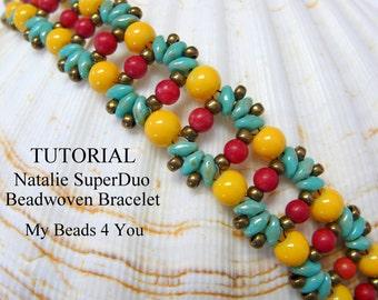 PDF Beading Pattern, Beadwork Bracelet Pattern, Beadweaving Tutorial,Pattern,Seed Bead Tutorial, Superduo Schemi, DIY Beading Instructions