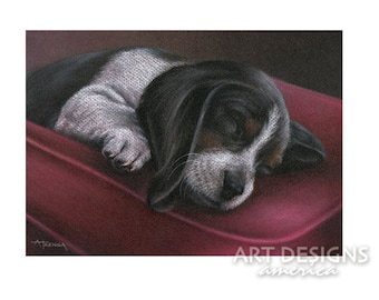 ACEO Sleeping Beagle Puppy, Archival Art Print, Beagle Dog Pastel Drawing, Dog Print, SFA Small Format Art, Artist Trading Card, ADA-P374
