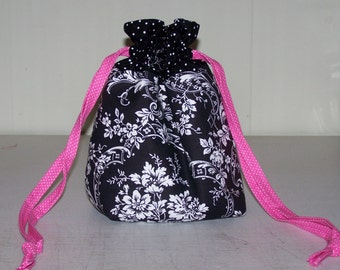 Black Floral Wristlet/Drawstring Bag