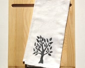 Kitchen Towel, block print, tree in gray (made to order), flour sack