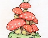 Cute Owl on top of stack of Mushrooms  8 x 10 Print christmas gift birthday gift amanita mushroom original artwork digital print watercolor