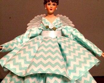 Brunette Treetopper Turquoise Aqua Chevron Print Porcelain Angel Doll OOAK Tree Topper Personalized Hang Tag Free