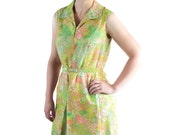 70s Dress, Watercolor Novelty Print, Green, Cotton Voile, Made in Switzerland