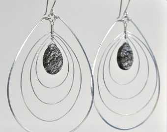 Sterling Silver Earrings- Statement Earrings- Rutilated Quartz Earrings- Black and White Gemstone Earrings- Concentric Teardrop Loops