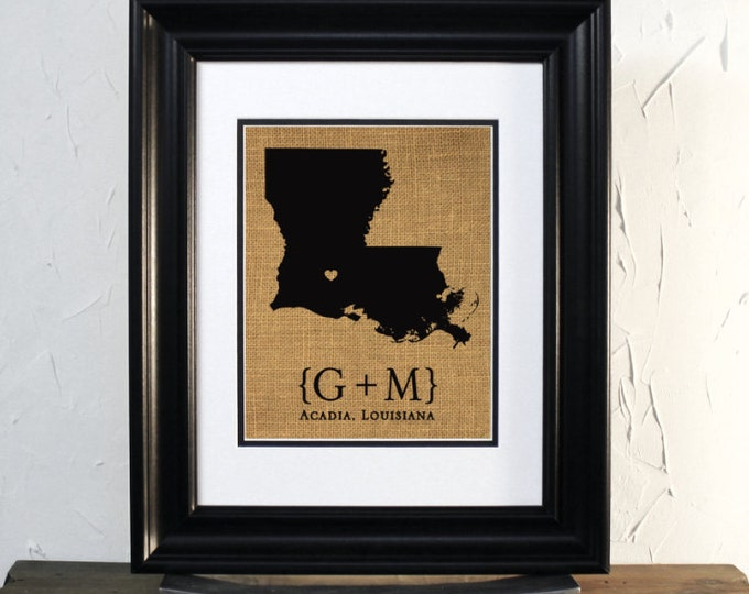 State of Louisiana Map Sign Art. Wedding or Anniversary Gift. Custom Couple Name, City and State.