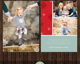 5x7 Christmas Card, Holiday Card, Season's Greetings, Snowflakes - Template - H40