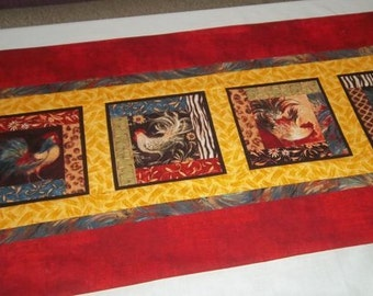 Rooster Table Runner, Red Table Runner with Roosters, Reversible Table Runner