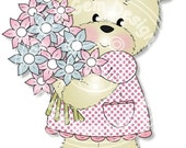 Digital (Digi) Bella with Bouquet  Stamp. Makes Cute Papercraft and Digital Scrapbooking Projects. Teddy Bear