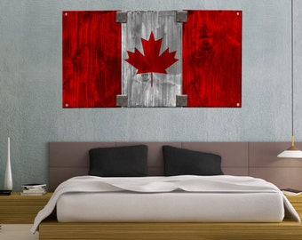Faded Rustic Canadian Flag Landmark - Vinyl Wall Decal Full Color Sticker Decor Removable Art Mural www.uBerDecals.ca B312