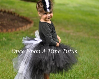 Ready To Ship Skunk Tutu - Black White Fur Feather Bustle TuTu - Girls Size 12M 2T 3T 4T 5T 6 8 10 12  Birthday Photo Prop Halloween Costume