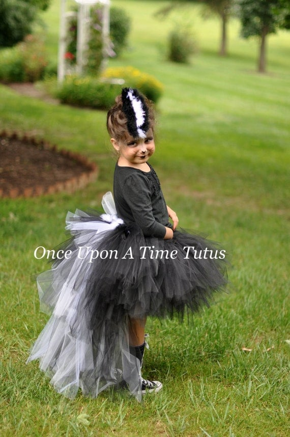 Ready To Ship Skunk Tutu - Black White Fur Feather Bustle TuTu - Girls Size 12M 2T 3T 4T 5T 6 8 10 12 Birthday Photo Prop Halloween Costume
