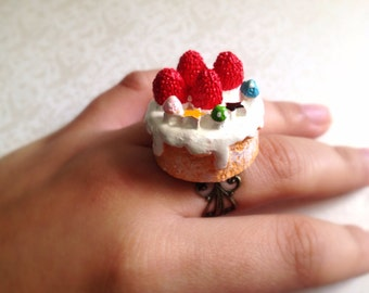 Miniature Cake Adjustable Ring. Birthday Treat. Sweet Strawberry Mini Cake. Kawaii Colorful Resin Cake. Adjustable Brass Ring. Under 20 Gift