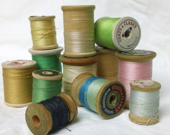 Vintage Sewing Collection Wooden Thread Spools set of 12 Hooks, Eyes, Lace
