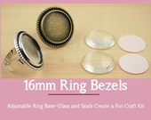 10 - 16mm ROUND Alloy Ring BezelTray and Optional 16mm Glass Domes (10) and Adhesive Craft Seals (10 or 20) Adjustable Ring Base. Craft Kit