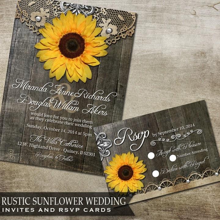 Sunflower Wedding Invitation Set Rustic Wedding By