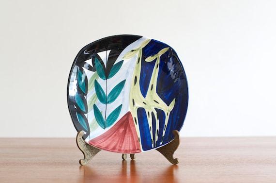 Vintage Stavangerflint Inger Waage Hand Painted Pottery Dish/Plate - Norway
