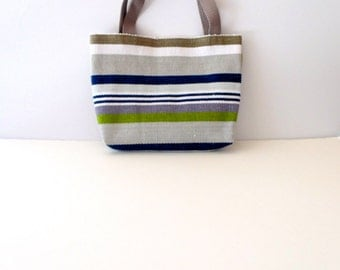 Gray, Navy and White Striped Tote Bag