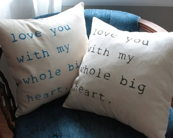 love pillow cover | peacock blue | wedding gift | nursery pillow | anniversary gift | 18 x 18 pillow cover
