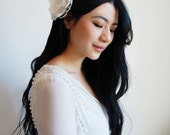 """Bridal Hairpiece, Wedding Hair Flower - """"Ivory Silk Flower with Lace"""