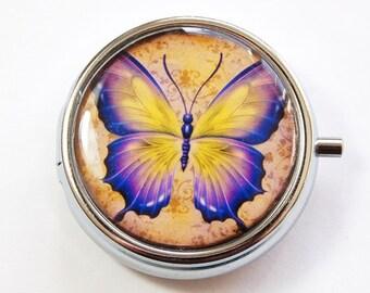 Butterfly pill case, Pill Box, Pill Case, Purple Butterfly, Pill Container, Mint Container, Butterfly pill box, purple (3154)