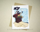 Little pirate in the treasure chest - Greeting Card