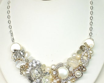 Gold Bridal Statement Necklace- Pearl Statement Bib- Gold Bridal Bib-Gold Statement Necklace-Rhinestone and Pearl Bib Necklace-Brass Boheme