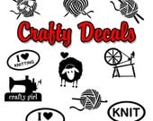 Crafty Knitting Car Decals, Laptop Decal, Vinyl Stickers for your car or window. Knitting Decals, Crochet Decals