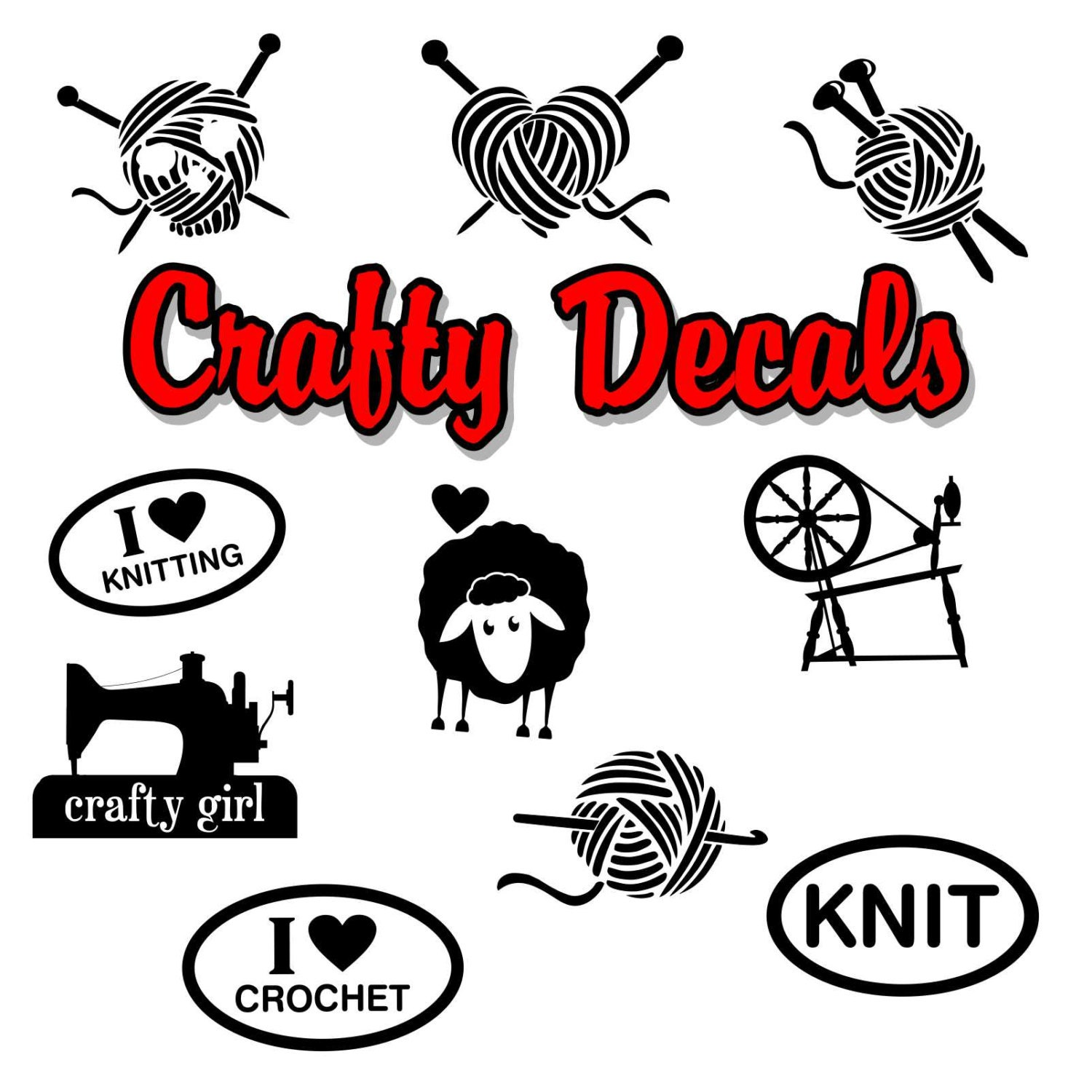 Design your car sticker - Crafty Knitting Car Decals Laptop Decal Vinyl Stickers For Your Car Or Window