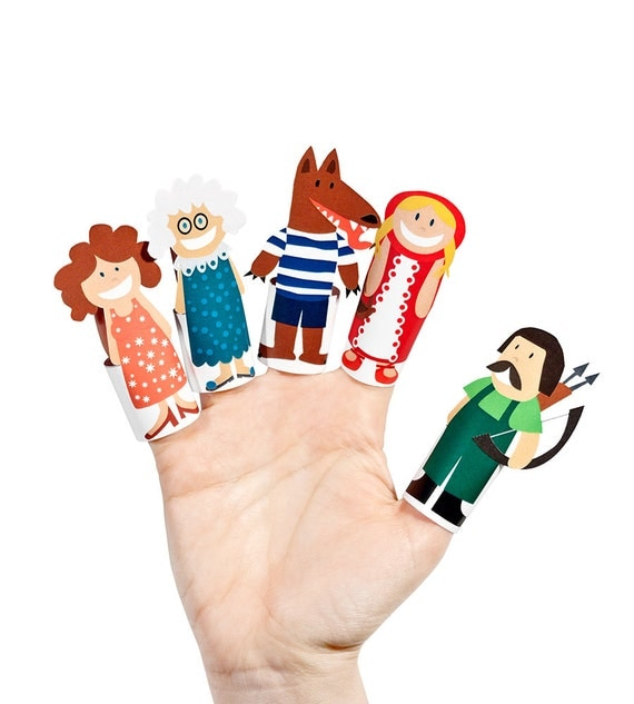 Bright image inside printable finger puppets