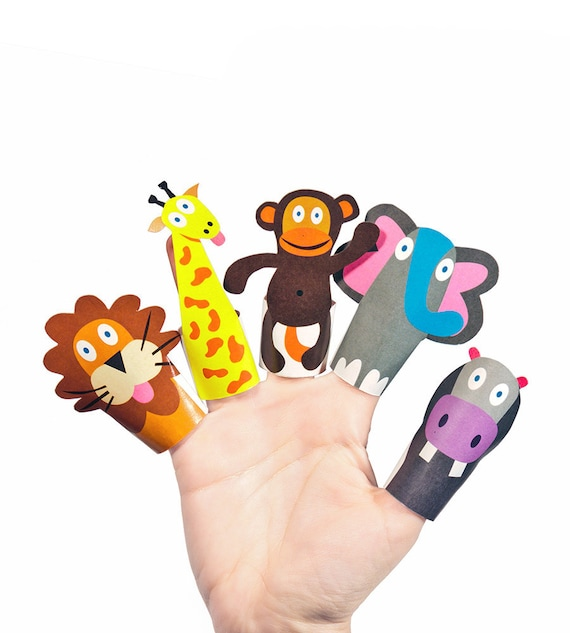 Jungle Animals Paper Finger Puppets Printable Pdf Toy Diy