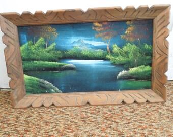 Velvet Painting in Carved Wood Frame Scenic Mountain Painted on Velvet