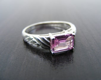 15% Off Sale.S215 Made to Order...New Sterling Silver Contemporary East West Ring with 1 Carat Lab Pink Sapphire Gemstone