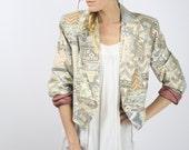 80s Cropped Jacket, Vintage print jacket, Southwest print jacket, Cotton, Retro 90s jacket, Power suit, Boho Ethnic, Wraps, Small Medium