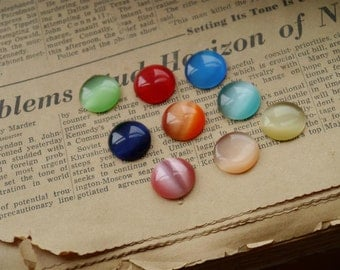 6 pcs 16mm Round Glass Cabochons Assorted Mixed Colors (MXC2021)