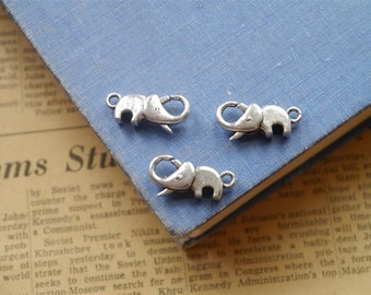 10 pcs Antique Silver Elephant Lobster Clasps (SF2129)