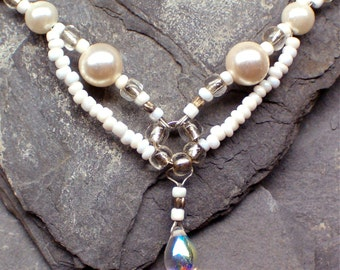 White Bridal Necklace, Swirly Elven Necklace With Raindrop