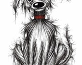 Filthy Fred Print download Super scruffy little pup doggie with shabby coat and a cheeky face Grubby mucky pooch funny pet picture