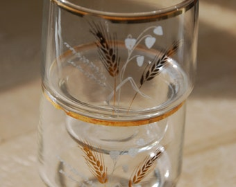 Pair of vintage glass tumblers wheat design